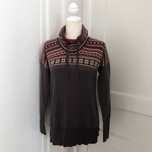 Avalanche Fair Isle Cowl Funnel Neck Sweater